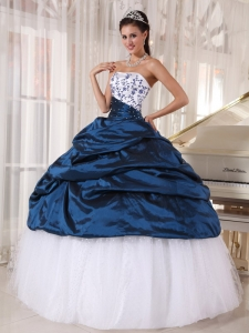 Embroidery Strapless Quinceanera Dress Taffeta and Tulle