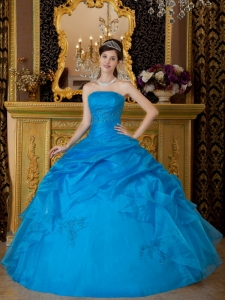 Blue Ball Gown Strapless Floor-length Appliques Organza