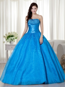 Blue Ball Gown Strapless Taffeta Beading Quinceanera Dress