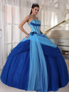 Blue Ball Gown Strapless Tulle Beading Quinceanera Dress