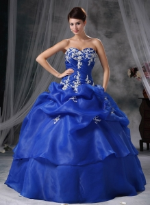Blue Appliques Sweetheart Organza Quinceanera Dress Beading