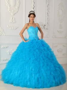 Blue Quinceanera Dress Sweetheart Satin Organza Beading