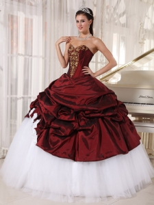 Burgundy and White Ball Gown Sweetheart Taffeta and Tulle