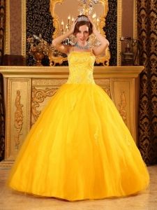 Ball Gown Spaghetti Straps Beading Satin and Organza Gold