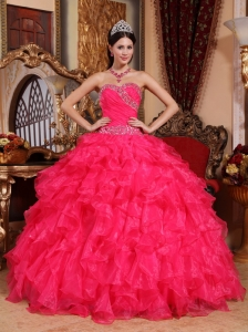 Coral Red Sweetheart Organza Beading Quinceanera Dress