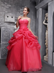 Coral Red Sweethrart Organza Beading Ruch Quinceanera Dress