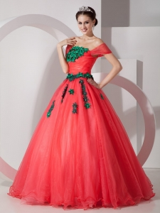 Off The Shoulder Coral Red Dress for Quince Green Appliques