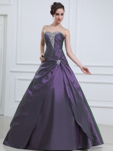 Dark Purple Quinceanera Dress Beaded Sweetheart Taffeta