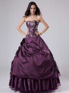 Dark Purple Strapless Taffeta Floor-length Quinceanera Dress