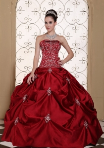 Appliques Wine Red Quinceanera Dress Taffeta Strapless