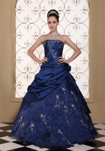 Quinceanera Dress Embroidery Strapless Navy Blue Gown