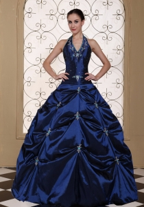 Halter Top Beading Ball Gown Quinceanera Dress Embroidery