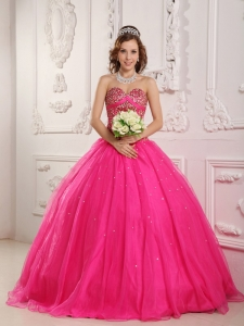 Hot Pink Quinceanera Dress Sweetheart Satin and Organza