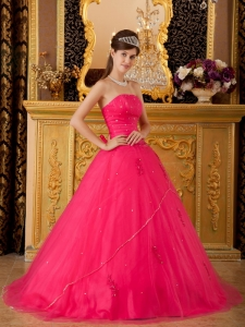 Hot Pink Princess Strapless Tulle Appliques Quinceanera Dress