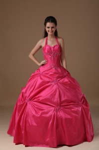 Pink Halter Floor-length Taffeta Beading Quinceanera Dress