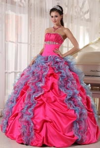 Hot Pink Sweet 15 Dress Strapless with Blue Organza Ruffles