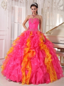 Hot Pink Orange Sweetheart Organza Sequins Quinceanera Dress