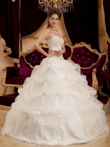 Ivory Quinceanera Dress Sweetheart Satin Organza Embroidery