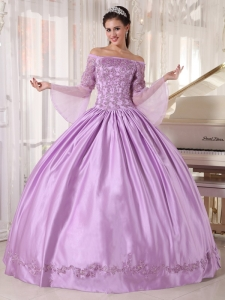 Ball Gown Off The Shoulder Taffeta Appliques Lavender