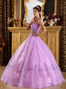 Lavender Strapless Appliques Tulle Quinceanera Dress