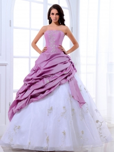 Lavender White Quinceanera Dress Appliques Floor-length