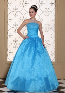 Strapless Quinceanera Dress With Beaded Taffeta and Organza