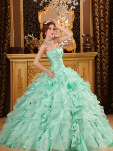 Ball Gown Sweetheart Ruffles Organza And Taffeta Apple Green