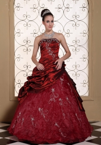 Appliques Decorate Quinceanera Dress 2013 Strapless Wine Red