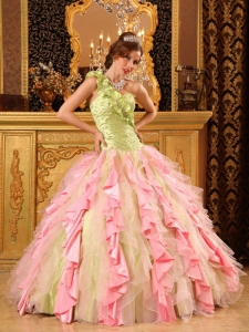 Ruffles Multi-Color Ball Gown One Shoulder Taffeta Organza