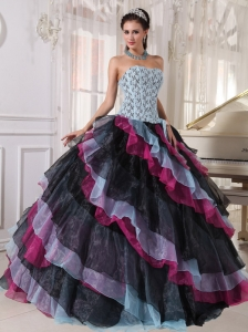 Multi-color Ball Gown Strapless Floor-length Organza Appliques
