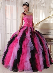 Multi-colored Ball Gown One Shoulder Organza Ruffles