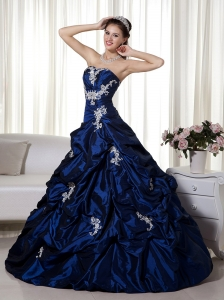 Blue A-line Strapless Taffeta Appliques Quinceanera Dress