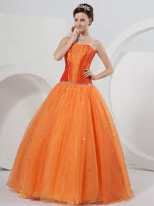 Corset Orange Strapless Quinceanera Dress Organza and Taffeta