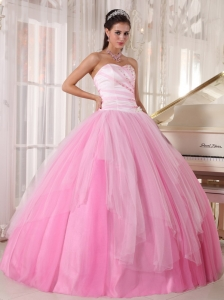 Pink Ball Gown Sweetheart Tulle Beading Quinceanera Dress