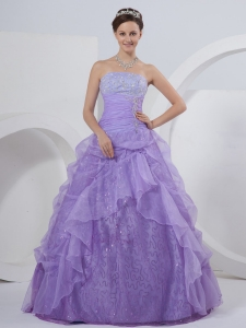 A-line Quinceanera Dress Strapless Organza Lilac Floor-length