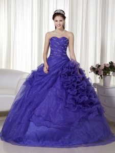 Purple Quinceanera Dress Sweetheart Organza Beading Ruch