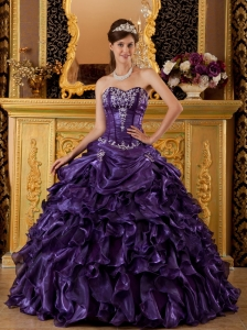 Organza Quinceanera Dress Purple Ball Gown Sweetheart Ruffles