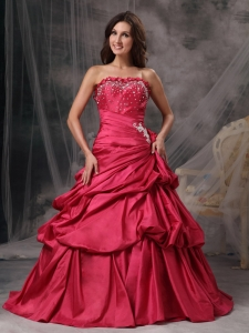 Flower Decorate Neckline Beaded Quince Dress with Pick-ups