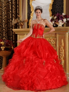 Ball Gown Dress Strapless Appliques Organza Red