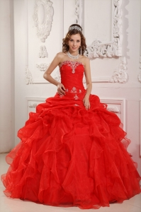 Red Strapless Organza Beading Ruffles Quinceanera Dress