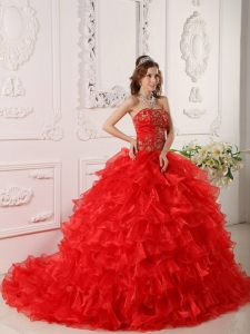 Red Quinceanera Dress Strapless Organza Ruffles Embroidery