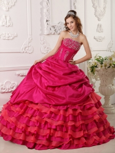 Hot pink Ball Gown Strapless Taffeta Beading