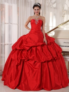 Red Ball Gown Sweetheart Taffeta Beading Quinceanera Dress