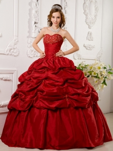 Wine Red Appliques Sweetheart Quinceanera Dress Tafftea