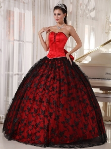 Red and Black Quinceanera Dress Sweetheart Tulle Taffeta Lace
