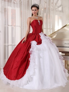 Red and White Quinceanera Dress Sweetheart Organza and Taffeta
