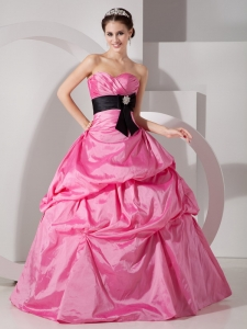 Rose Pink Quinceanea Dress Gown Sweetheart Taffeta Sash