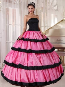 Rose Pink and Black Quinceanera Dress Strapless Taffeta
