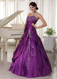 Organza Purple A-line Sweetheart Quinceanera Gowns Beading