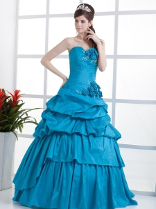 Teal Quinceanera Dress Sweetheart Floral Ruffled Layeres
